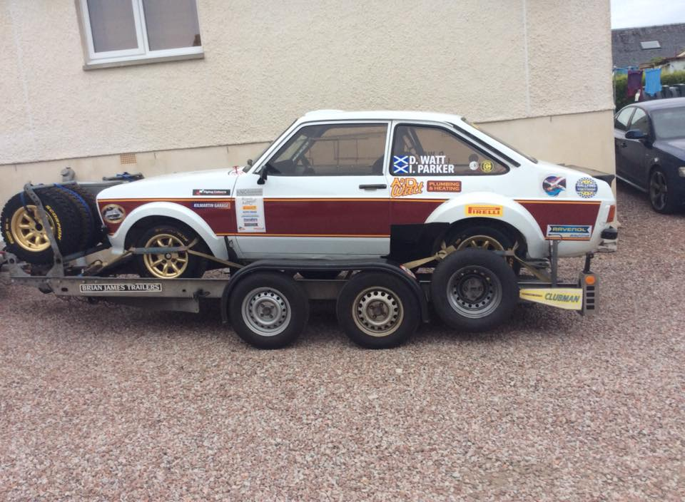 Ford Escort on trailer