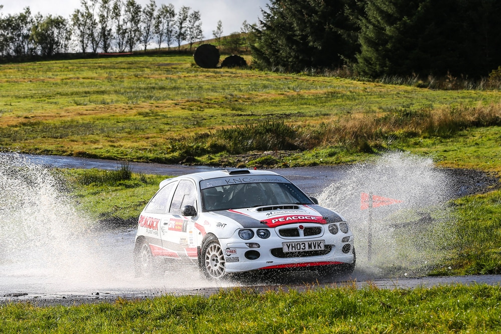 Peacock tackling the Knockhilll rally stage